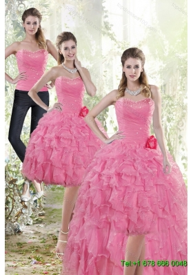 Fashionable 2015 Detachable Rose Pink Prom Skirts with Beading and Ruffles