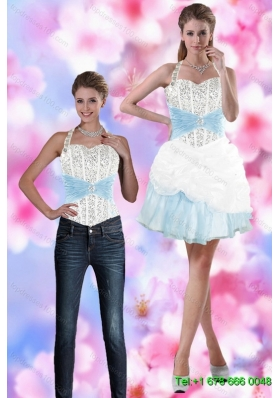 Perfect 2015 Halter Top Detachable Prom Skirts with Beading and Pick Ups
