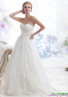 2015 Luxurious Sweetheart Brush Train Wedding Dress with Beading