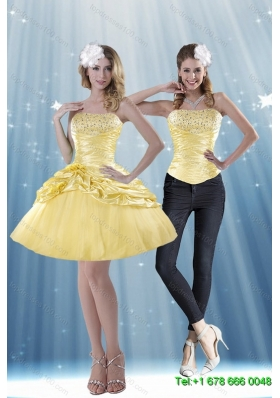 Delicate 2015 Strapless Beading and Pick Ups Detachable  Skirts in Yellow
