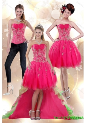 Discount 2015 High Low Appliques Strapless Detachable Prom Skirts