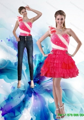 Inexpensive 2015 One Shoulder Detachable Prom Skirts with Hand Made Flowers and Ruffled Layers