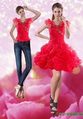 Gorgeous 2015 Knee Length Red Detachable Prom Skirts with Beading and Ruffles