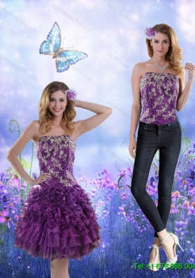 Remarkable 2015 Strapless Purple Detachable Prom Skirts with Appliques and Ruffles