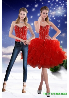 Detachable 2015 Sweetheart Red Prom Skirts with Beading and Ruffles