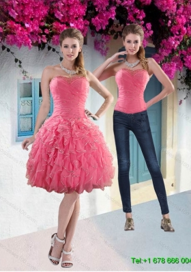 Pretty 2015 Strapless Watermelon Detachable Prom Skirts with Beading and Ruffles