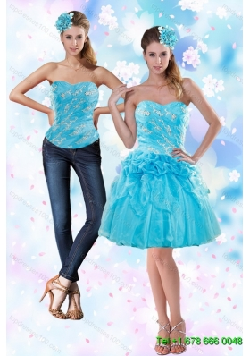 2015 Detachable Appliques and Pick Ups Strapless Prom Skirts in Baby Blue