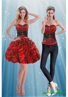 2015 Detachable Multi Color Sweetheart Prom Skirts with Appliques and Ruffles