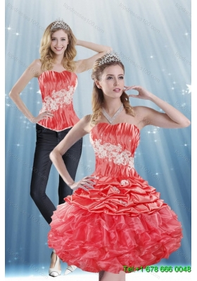 2015 Detachable Strapless Appliques and Pick Ups  Prom Skirtsin Coral Red