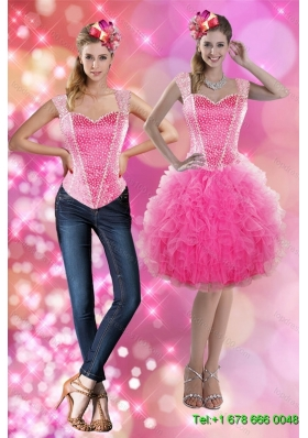 2015 Detachable Straps Beading and Ruffles Short Prom Skirts in Pink