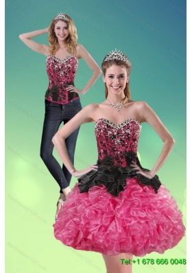 2015 Detachable  Sweetheart Multi Color Prom Skirts with Ruffles and Beading