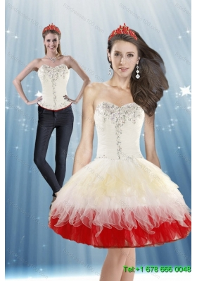 2015 Detachable White and Red Prom Skirts with Beading and Ruffled Layers