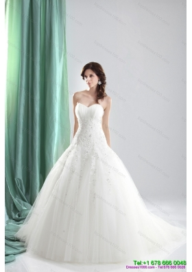 2015 Pretty Sweetheart A Line Wedding Dress with Appliques