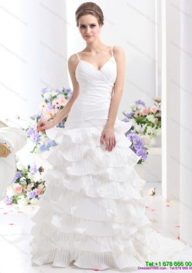 2015 Unique Ruching White Wedding Dresses with Ruffled Layers and Brush Train