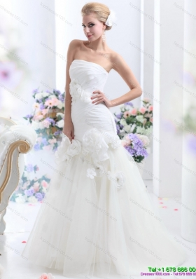2015 White BrushTrain Strapless Bridal Gowns with Ruching and Hand Made Flowers