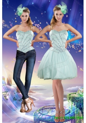Classical Sweetheart Beading 2015 Detachable Prom Skirts in Apple Green