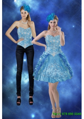 Detachable 2015 Sweetheart Prom Skirtswith Embroidery and Pick Ups