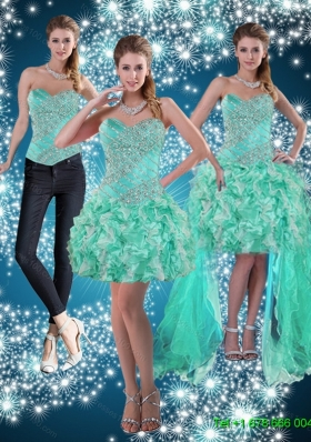 Detachable Apple Green Sweetheart Beading Beautiful Prom Skirts for 2015