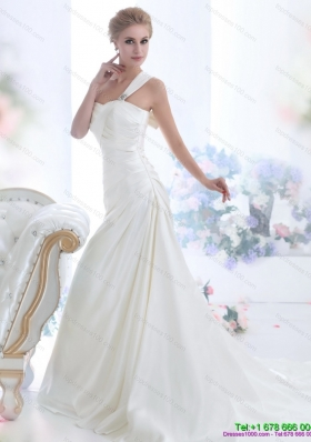 Perfect 2015 One Shoulder Wedding Dresses with Ruching and Bowknot