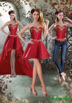 Detachable Sweetheart Embroidery Short  Prom Skirts for 2015