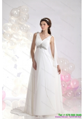 2015 Popular V Neck Wedding Dress with Beading and Ruching