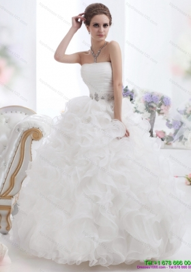 Perfect White Strapless Ruffles and Ruching Wedding Gown for 2015
