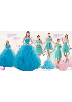 2015 Cheap Teal Sweetheart Quinceanera Dress and Ruching and Beading Short Prom Dresses and Halter Top Ruffles Little Girl Dress