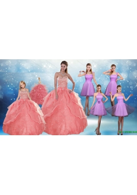 Perfect Beading Floor Length Quinceanera Dress and Short Ruching Prom Dresses and Watermelon Halter Top Little Girl Drles
