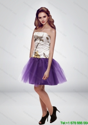 The Super Hot Mini Length Strapless 2015 Camo Prom Dresses in Multi Color