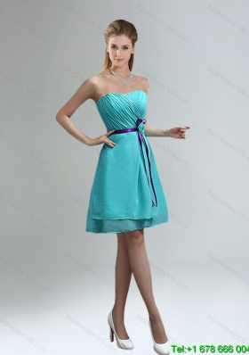 New Arrival Blue And Purple Sweetheart Dama Dresses with Ruches