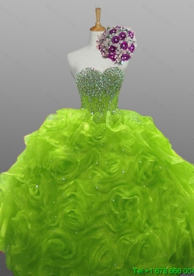 2015 Sweet Rolling Flowers Quinceanera Gowns in Organza