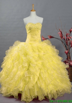 Beaded and Ruffles Quinceanera Dresses in Organza for 2015