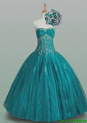 Fashionable Strapless Beaded Quinceanera Dresses with Appliques