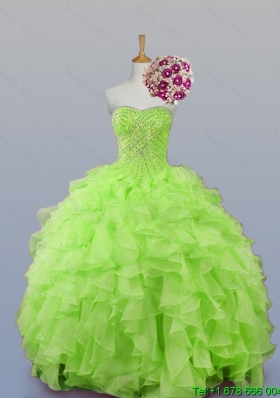 2015 Perfect Sweetheart Beaded Quinceanera Dresses with Ruffles