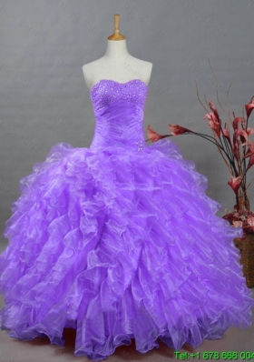 2015 Summer Ball Gown Sweetheart Beading Quinceanera Dresses