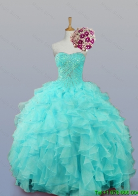 2015 Sweetheart Quinceanera Dresses with Beading and Ruffles