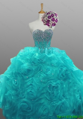 Gorgeous Sweetheart Beaded Quinceanera Dresses with Rolling Flowers