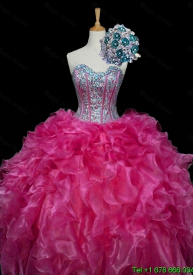 Perfect Sweetheart Hot Pink Quinceanera Dresses with Sequins and Ruffles