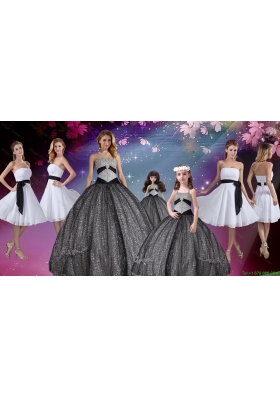Popular Appliques and Sequined Quinceanera Dresses and White Short Dama Dresses and Cute Straps Little Girl Dresses