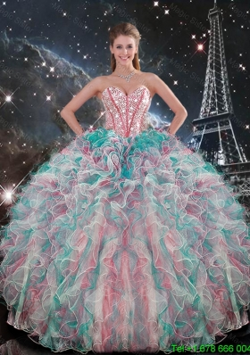 Exclusive Sweetheart Beaded and Ruffles Quinceanera Gowns in Multi Color