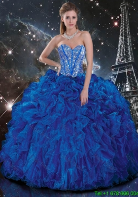 Popular Royal Blue Quinceanera Dresses with Beading and Ruffles