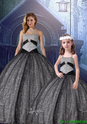 2016 Classical Ball Gown Sweetheart Appliques Matching Sister Dresses in Black