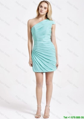 Romantic Short One Shoulder Ruching Prom Dress in Turquoise