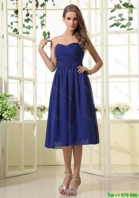 Simple Royal Blue Prom Dresses with Ruching for 2016