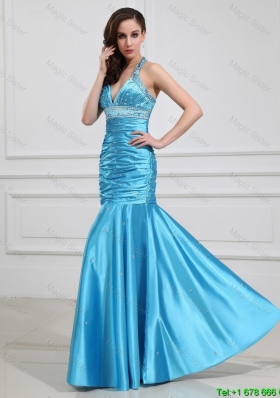 2015 Mermaid Halter Top Prom Dresses with Beading in Baby Blue