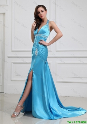 2016 Column Halter Top Brush Train Prom Dresses with High Slit