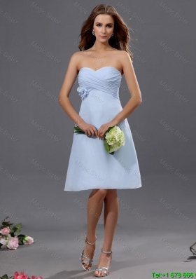 Gorgeous Ruching and Hand Made Flower Short Prom Dress in Light Blue