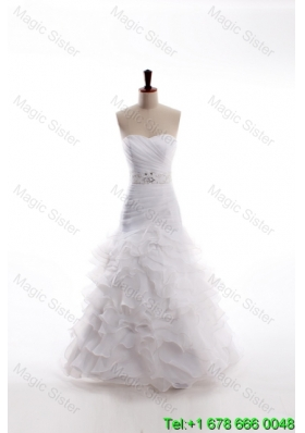 Affordable Mermaid Sweetheart Brush Train Beaded Wedding Dresses