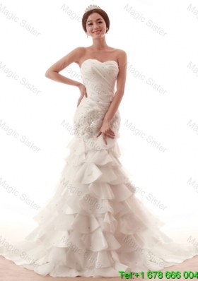 Gorgeous Beading and Ruffles White Wedding Dress with Brush Train