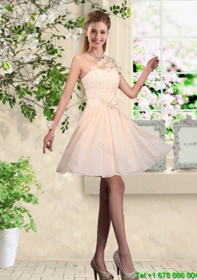 2015 Lovely One Shoulder Bridesmaid Dresses with Hand Made Flowers